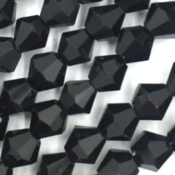 6mm Crystal bicone glass bead - 50 pieces - Black 8431